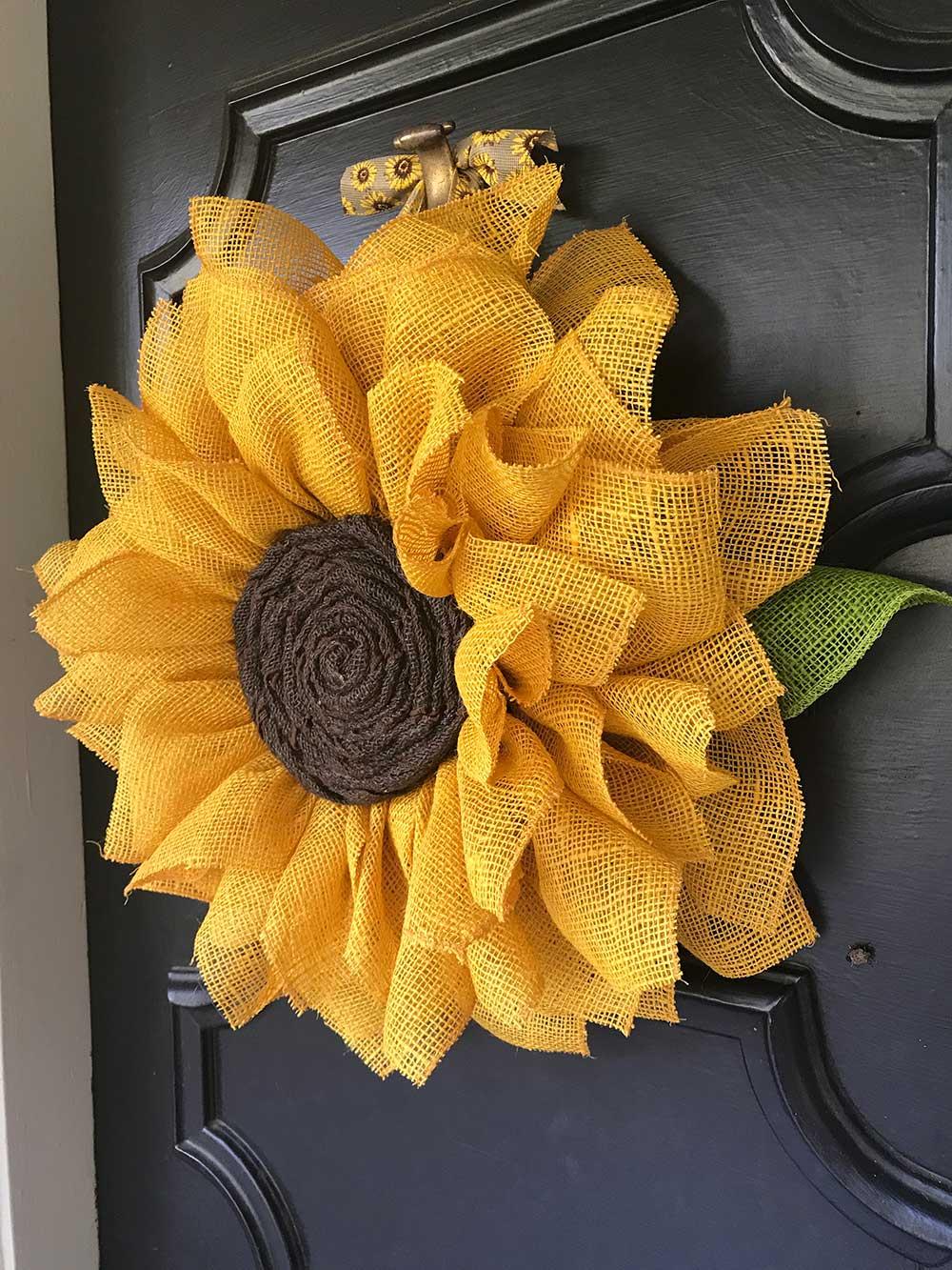 Sunflower Burlap Wreath Sunflower Nursery Wall Art