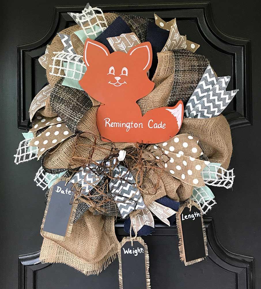 Nursery Decor Gray Navy Fox Wreath