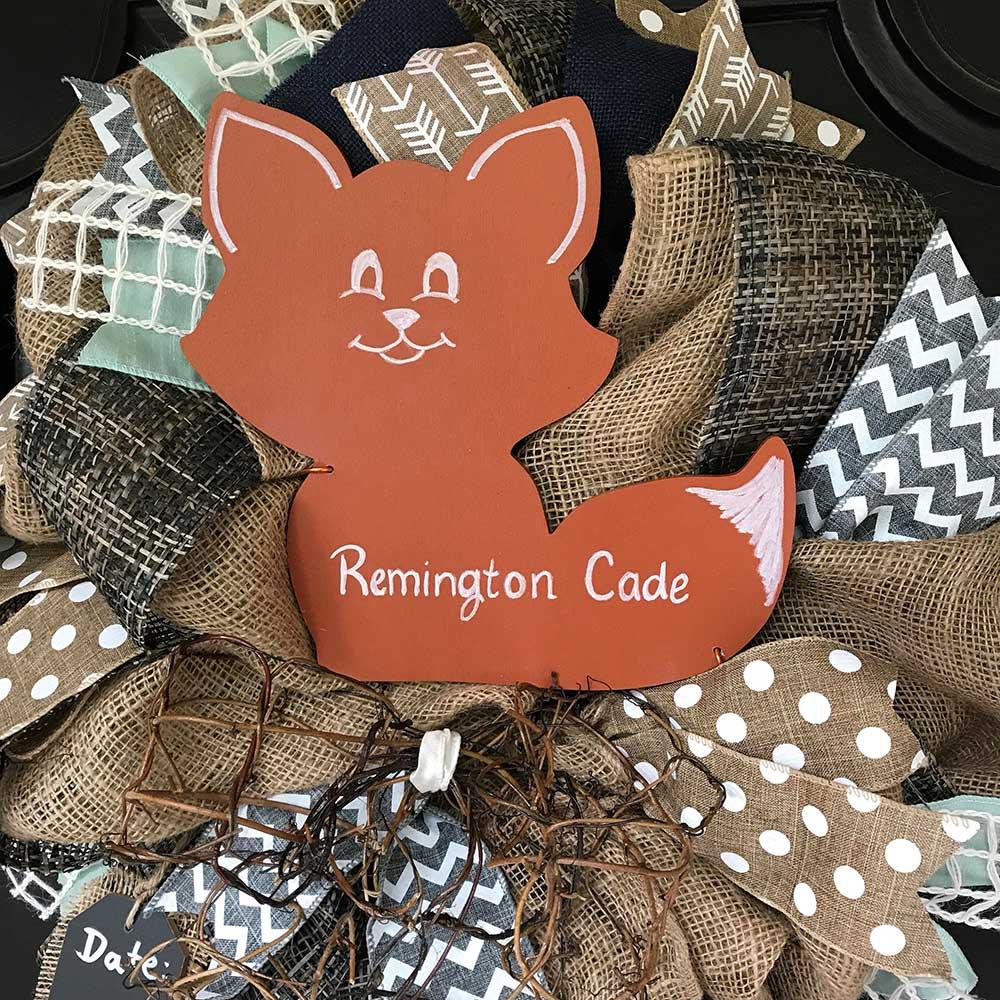 Woodland Fox Nursery Decor Gray Navy Wreath New Baby Mint Shower