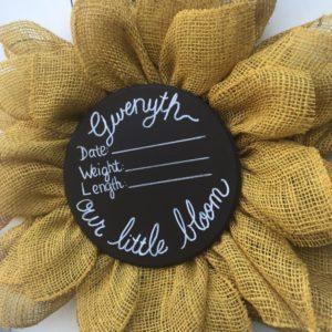 sunflower its a girl wreath