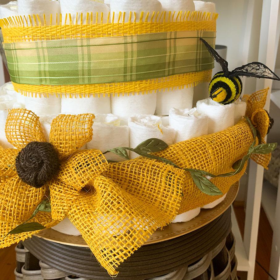 Sunflower Themed Diaper Cake   Sunflower Baby Shower ...