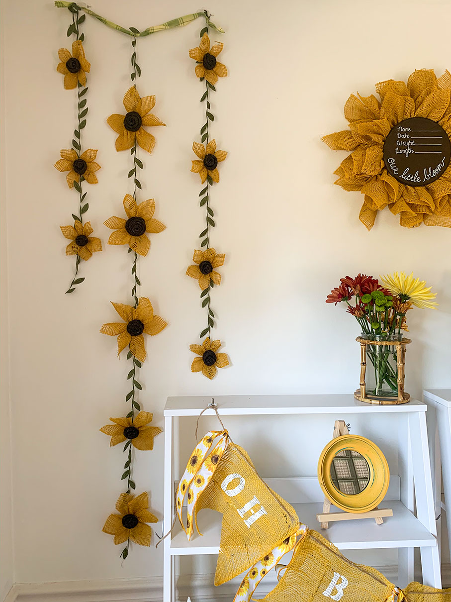 Its A Girl Wreath Sunflower Baby Shower Decoration