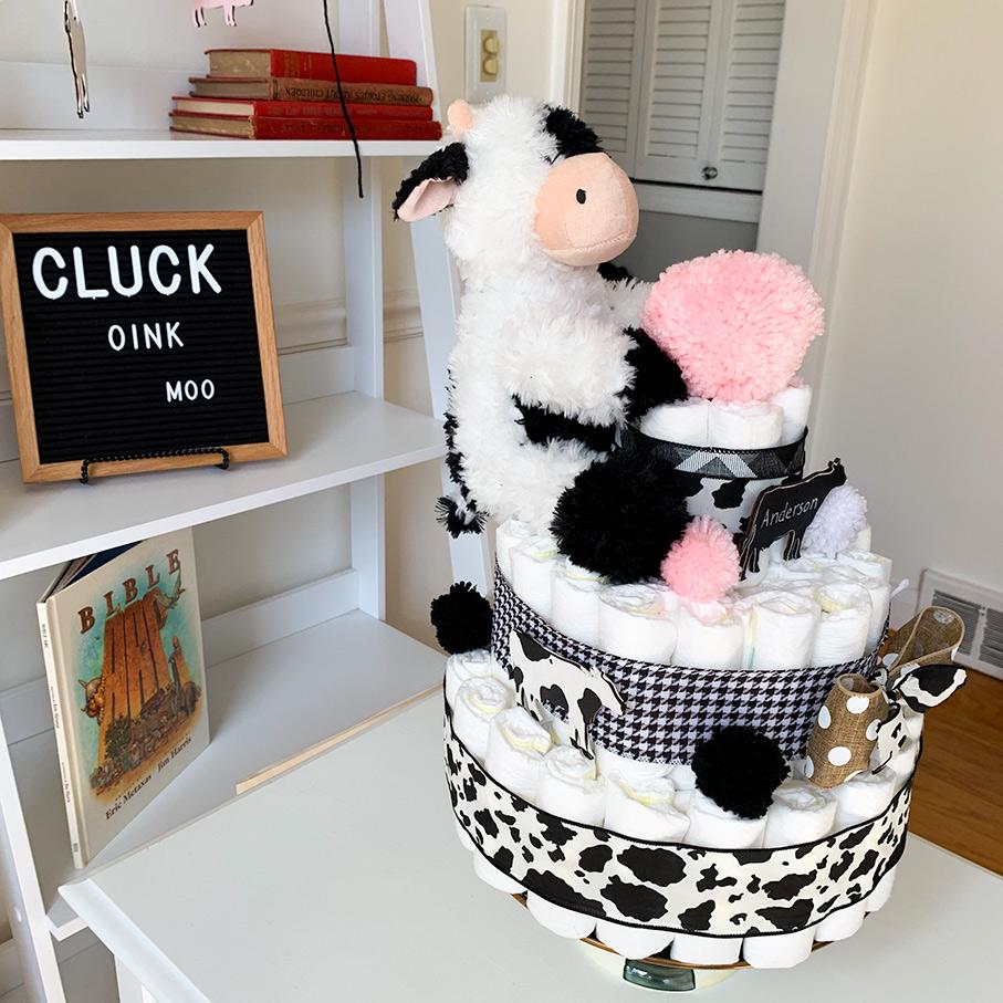 Farm Theme Diaper Cake Cow Baby Shower Centerpiece Cow Themed Diaper Cake