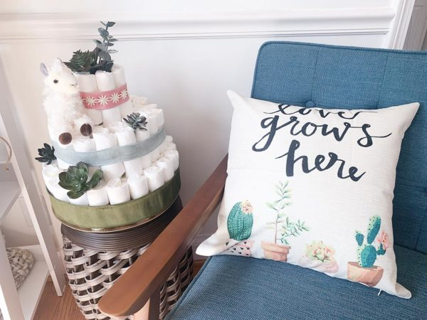 llama_succulents_diaper_cake