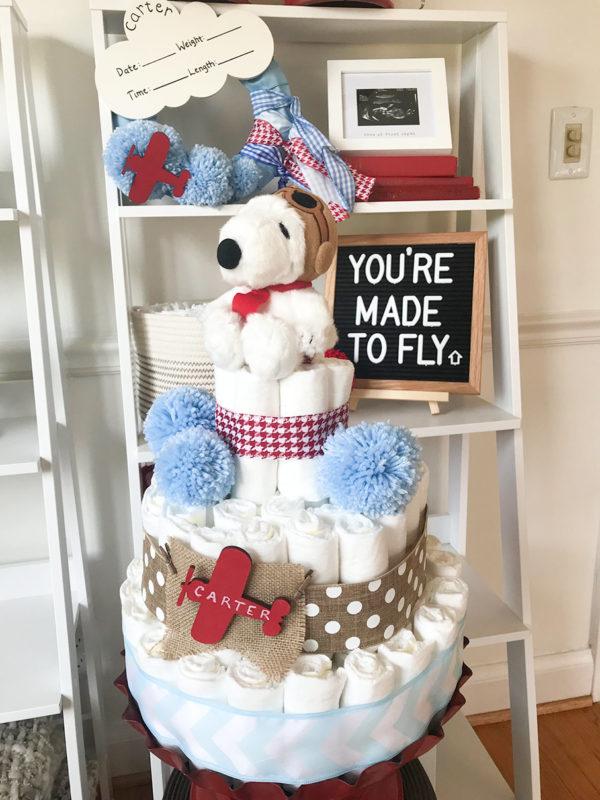 Snoopy_airplane_diaper_cake