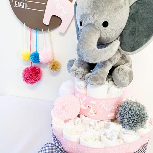 baby_girl_elephant_themed_diaper_cake