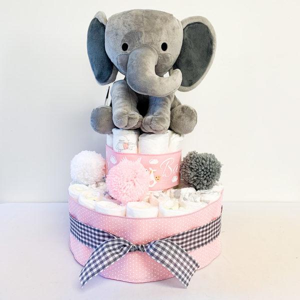 elephant_themed_diaper_cake_for_girl