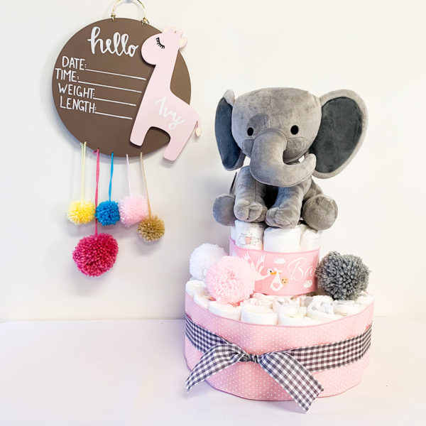 elephant_themed_diaper_cake_in_pink